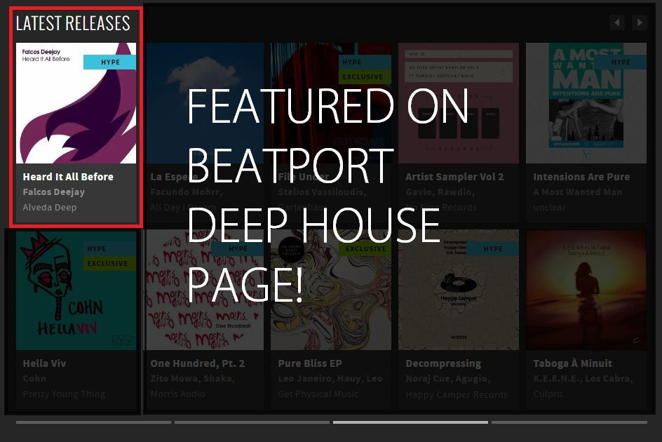 Falcos Deejayfeatured today on Beatport'sDeep Housepage!