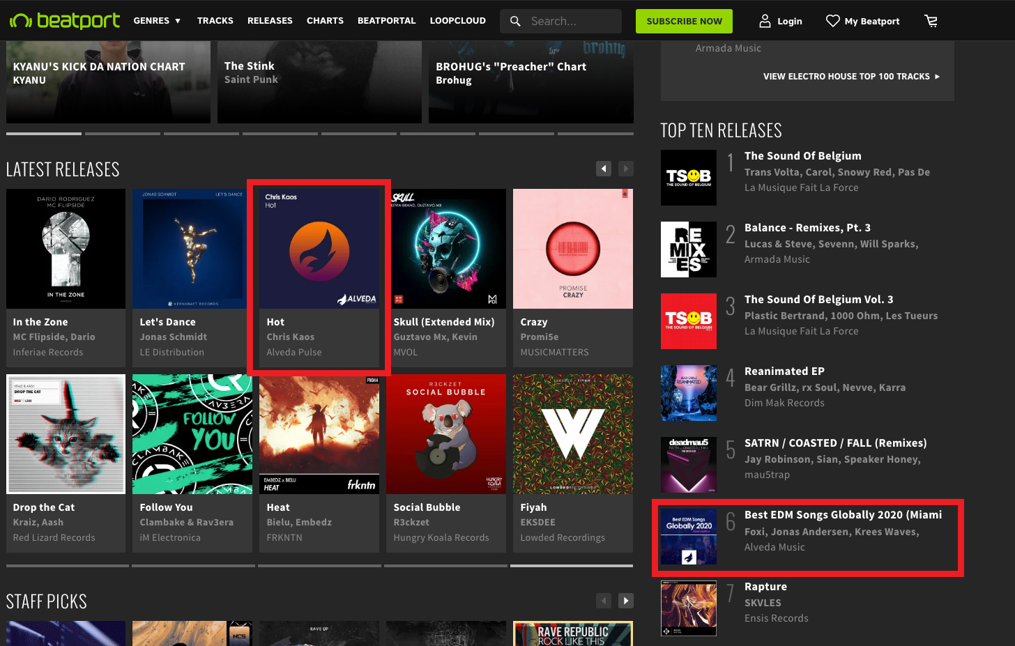 Top 6 on Beatport Electro House releases!